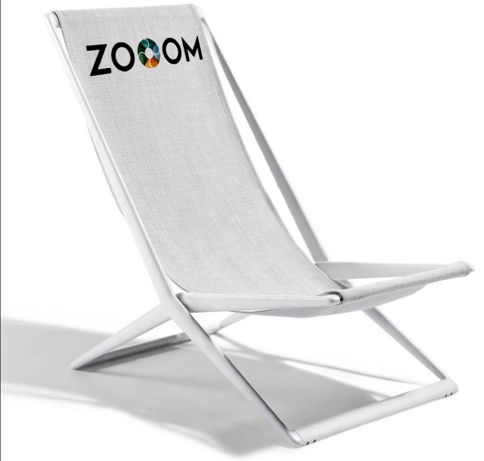 ZOOOM Festival beach chair branding